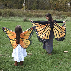 adult and child wearing butterfly wings