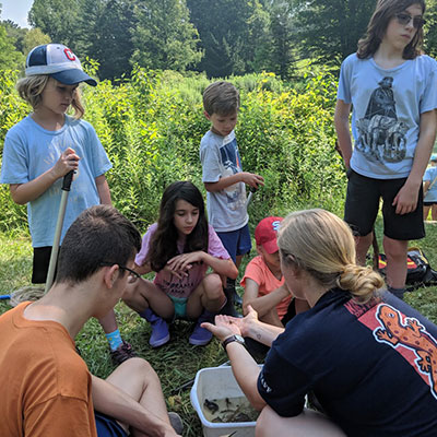 camp counselor shows camp kids a pond creature