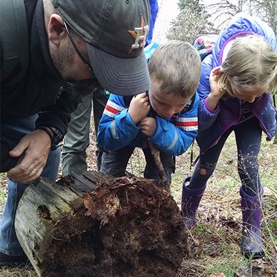 educator looks at a fallen log closely with kids