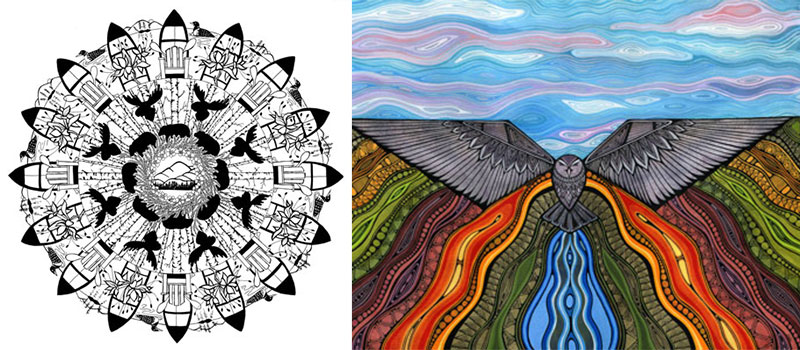 pen and ink drawings by artists Marlene Roeder and Amy Cunningham