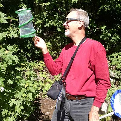 man holding a butterfly net and looking into a netted container to hold butterflies.